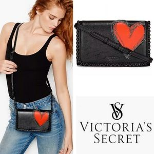 Victoria Secret RED Heart Black  Crossbody Bag